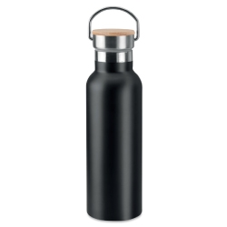Stainless Steel and Bamboo Flask TM-013-BK