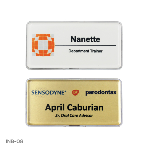 Printed  Lens Cover Name Badges with Sublimation Plate INB-08